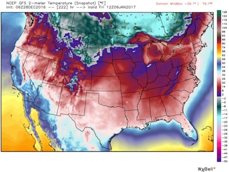us cold weather january 2017, polar blast us january 2017, cold weather us january 2017