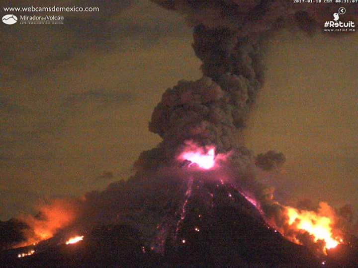 Colima eruzione gennaio 18 2017, Colima eruzione 18 gennaio 2017 video, Colima eruzione 18 gennaio 2017 immagini