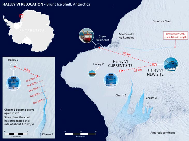 crack british antarctic survey, British Antarctic survey has to leave Antarctica because of cracks, crack antarctica, antarctica cracks BAS, BAS crack close down base, Halle-6, a station of the British Antarctic Survey (BAS) will remain closed during the Antarctic winter as a huge crack was newly discovered around