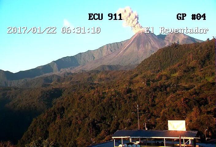Eruption of Reventador volcano, reventador, volcano, january 2017