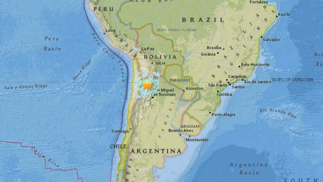 M6.3 terremoto argentina, terremoto M6.3 Argentina 18 Febbraio 2017, terremoto M6.3 colpisce Argentina, Sinabung (Indonesia) e Sabancaya (Perù) vulcani eruttano