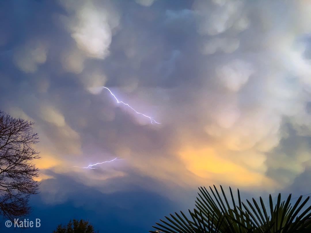 Mammatus clouds swallow up the sky over Pensacola, Florida