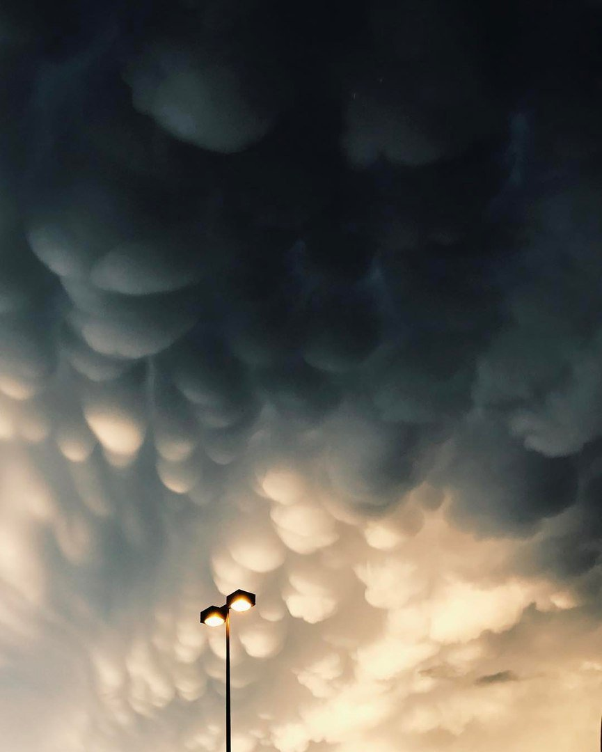 Mammatus clouds swallow up the sky over Pensacola, Florida