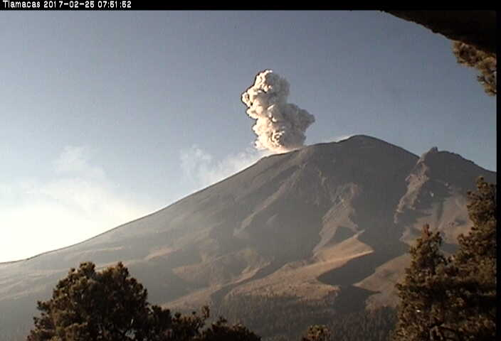 popocatepetl, éruption popocatepetl, explosion popocatepetl, popocatepetl février 2017 vidéo, Popocatepetl février 2017 images