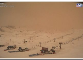 SANDSTORM FROM THE SAHARA HITS SPAIN, sand from sahara in spain 2017 calima, sand from sahara in spain 2017 calima video, sand from sahara in spain 2017 calima pictures, sand on snow in sierra nevada spain, reddish snow in spain, sahara sand covers snow in sierra nevada spain