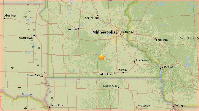 Mankato mysterious rumbling explosion blast, m2.8 earthquake mankato, mankato earthquake, minnesota earthquake april 25 2017