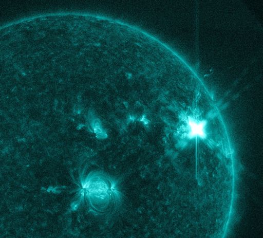 Sunspot AR2644 erupted on April 1st producing a significant M4-class solar flare. via Space Weather, sunspot eruption april 2017