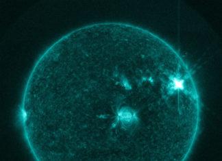Huge AR2645 sunspot faces Earth, Sunspot AR2644 erupted on April 1st producing a significant M4-class solar flare. via Space Weather, sunspot eruption april 2017