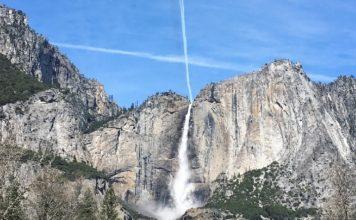 chemtrail yosemite falls, chemtrail spraying over yosemite falls, chemtrail yosemite falls picture