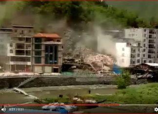 landslide destroys building china, china landslide, seven-story residential building collapsed in the landslide