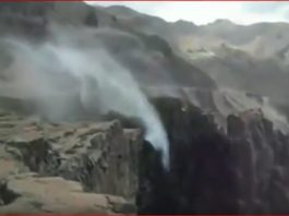 reverse waterfall chile, reverse waterfall chile video, reverse waterfall chile april 2017 video
