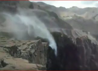 reverse waterfall chile, reverse waterfall chile video, reverse waterfall chile april 2017 video