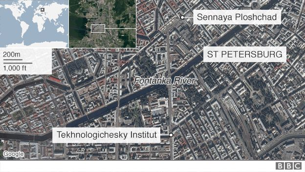st petersburg explosions attack, terrorist attack st petersburg russia, st petersburg explosions attack april 2017, st petersburg bombing attack, st pertersburg terror attack april 2017, Map showing scene of explosion in St Petersburg - 3 April 2017,