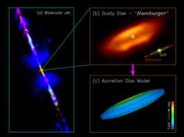 Feeding a Baby Star with a Dusty Hamburger, First detection of equatorial dark dust lane in a protostellar disk at submillimeter wavelength