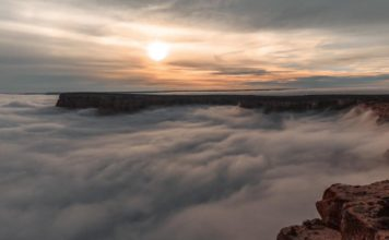 clouds in grand canyon, grand canyon covered in clouds, fog grand canyon, temperature inversion grand canyon