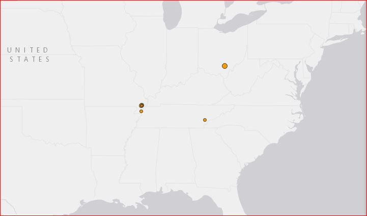 earthquake new madrid fault line may 24 2017, Map showing the M3.4 earthquake in Ohio and the earthquake swarm along the New Madrid Seismic Zone in Missouri on May 24 2017