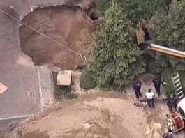 Gigantic Sinkhole Swallows Man Alive After Cesspool Collapse in Long Island Yard, huntington giant sinkhole cesspool, huntington sinkhole, huntington sinkhole video