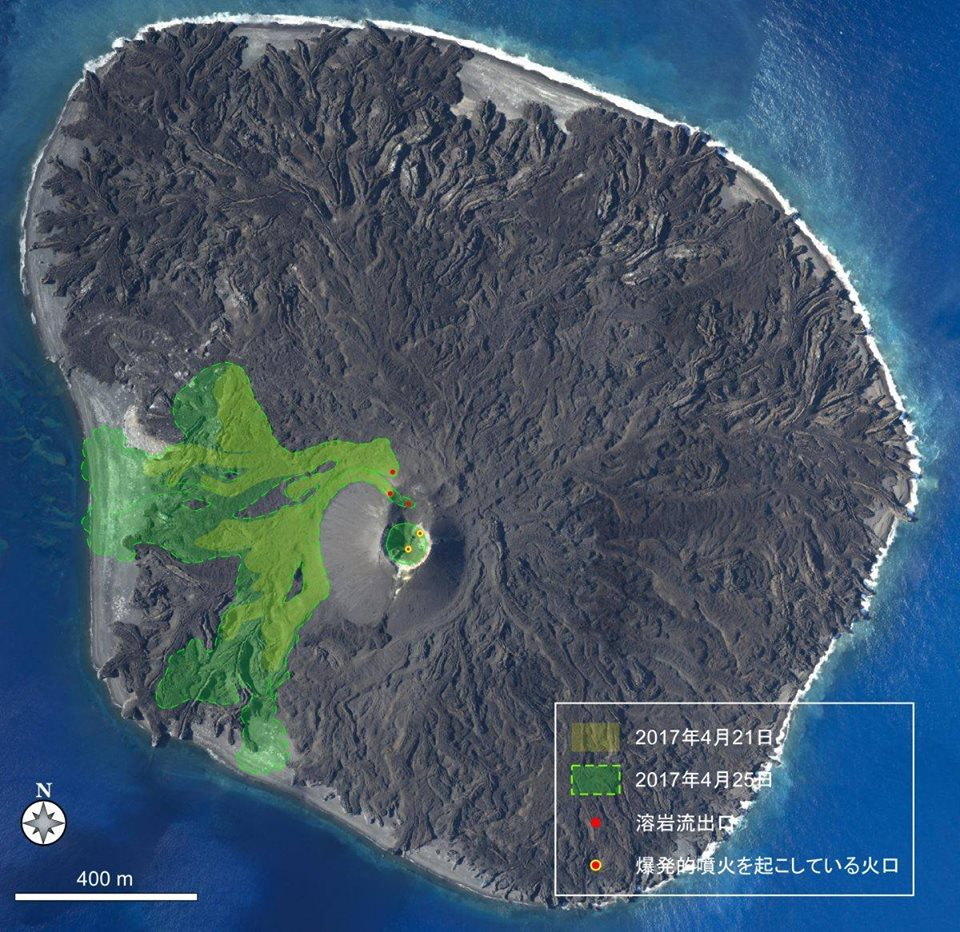 nishinoshima grows, nishinoshima grows japan, Eruption and lava flow at Nishinoshima volcano