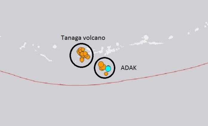 tanaga volcano adak earthquake swarm
