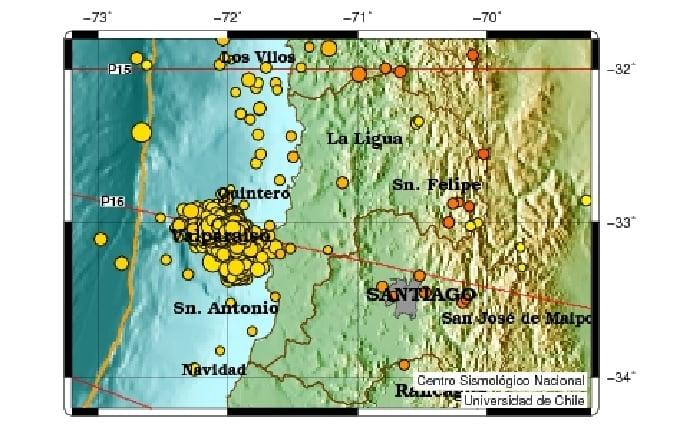 More than 650 earthquakes hit alparaiso, Chile since the M6.9 earthquake on April 25 2017