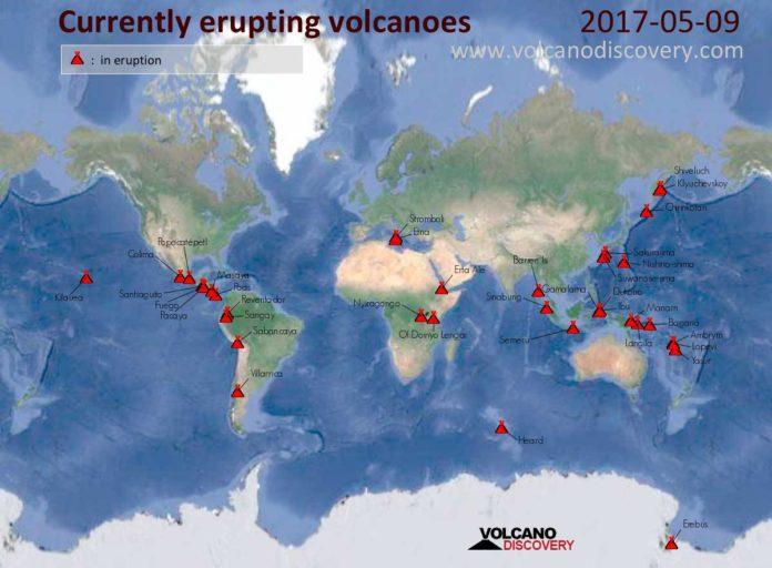 volcano eruptions map, volcano update, volcano currently erupting
