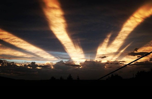 anticrepuscular rays picture, anticrepuscular rays june 2017, Anticrepuscular rays in the sky of Germany on June 14 2017