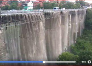 bridge turns into giant waterfall in Ukraine, bridge turns into giant waterfall in Ukraine video, bridge turns into giant waterfall in Ukraine june 2017 video