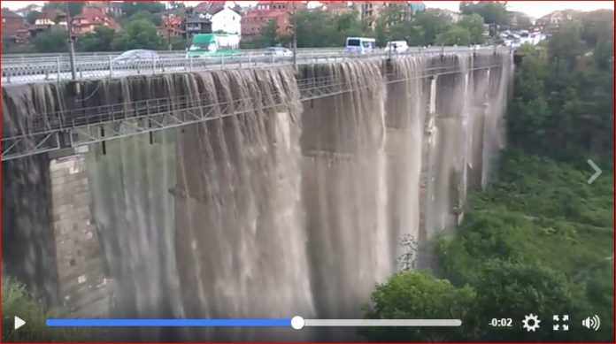 bridge turns into giant waterfall in Ukraine, bridge turns into giant waterfall in Ukraine video, bridge turns into giant waterfall in Ukraine june 2017 video