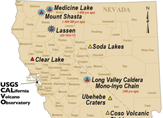 california volcanoes, volcanoes in california, Map showing the volcanoes in California,