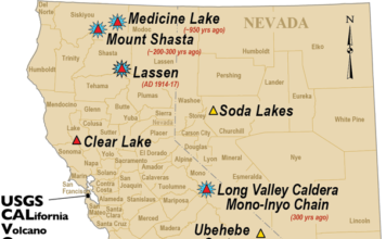 california volcanoes, volcanoes in california, Map showing the volcanoes in California,