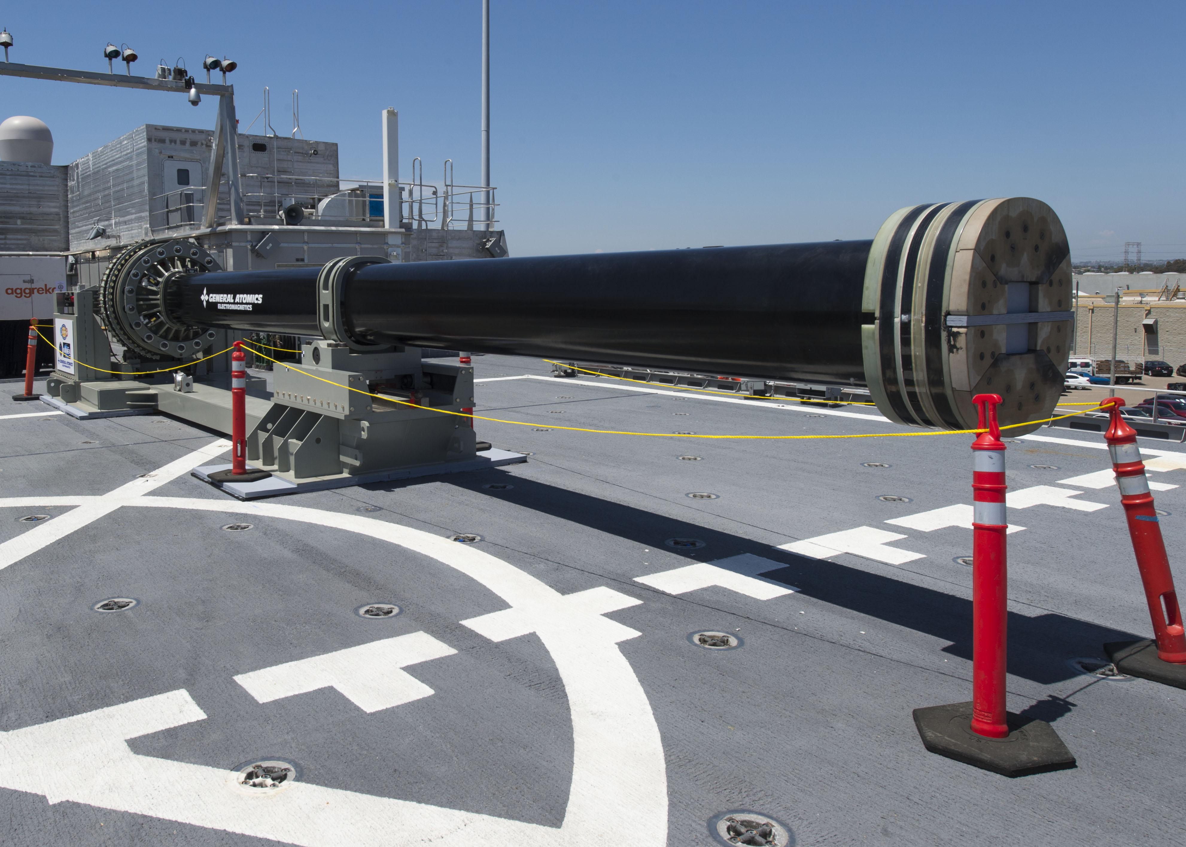 electromagnetic railgun, KEP, KEPs, One of two electromagnetic railgun prototypes on display aboard joint high speed vessel USS Millinocket, weaponized meteor strike