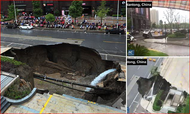 giant sinkhole swallowed up a tree and a van in Nantong, giant sinkhole swallowed up a tree and a van in Nantong video, giant sinkhole swallowed up a tree and a van in Nantong june 2017 video, giant sinkhole china, giant sinkhole china video