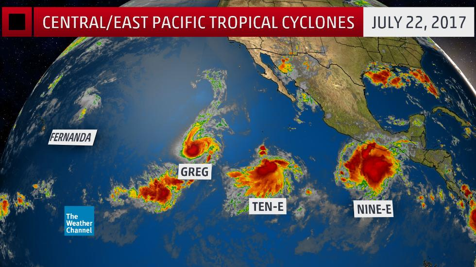 8 tropical cyclones in Pacific Ocean on July 22 2017, 8 tropical cyclones in Pacific Ocean on July 22 2017 map, 8 tropical cyclones in Pacific Ocean on July 22 2017 video, Eight Tropical Cyclones At Once in the North Pacific Ocean For First Time Since 1974