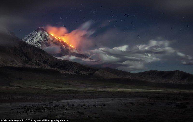 Klyuchevskoy eruption july 24 2017, Klyuchevskoy eruption july 24 2017 photo, Klyuchevskoy eruption july 24 2017 video
