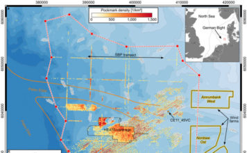 Abrupt emergence of a large pockmark field in the German Bight, Thousands of methane craters spewing methane from the sea floor around the Helgoland Reef in the German Bight, large pockmark field in the southeastern North Sea