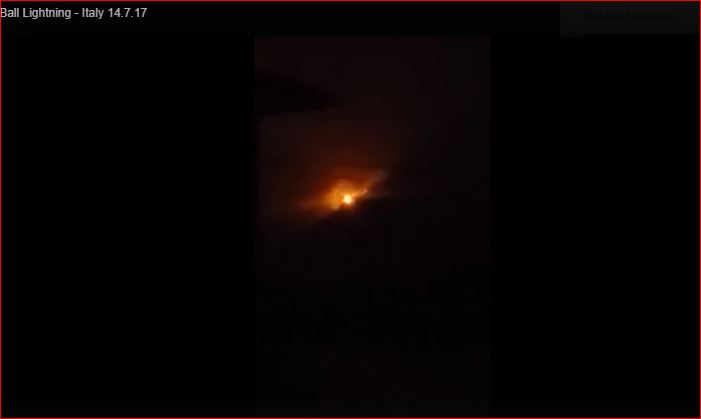 ball lightning italy video, Mysterious ball lightning phenomenon bergamo video, Mysterious ball lightning phenomenon captured over Bergamo Italy on July 14 2017 on video