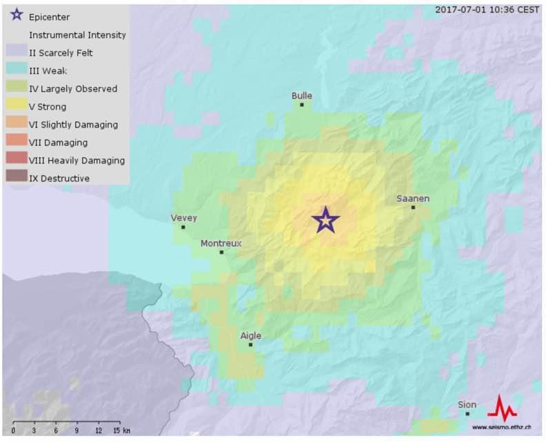 earthquake switzerland cern activity, earthquake swarm june 2017, earthquake chateau d'oex july 2017