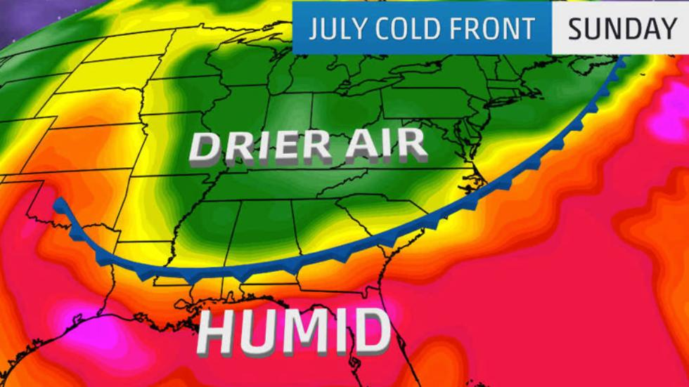 Weather anomalies in the USA in July 2017, strange weather phenomena usa july 2017, A Rare July Cold Front in the South,