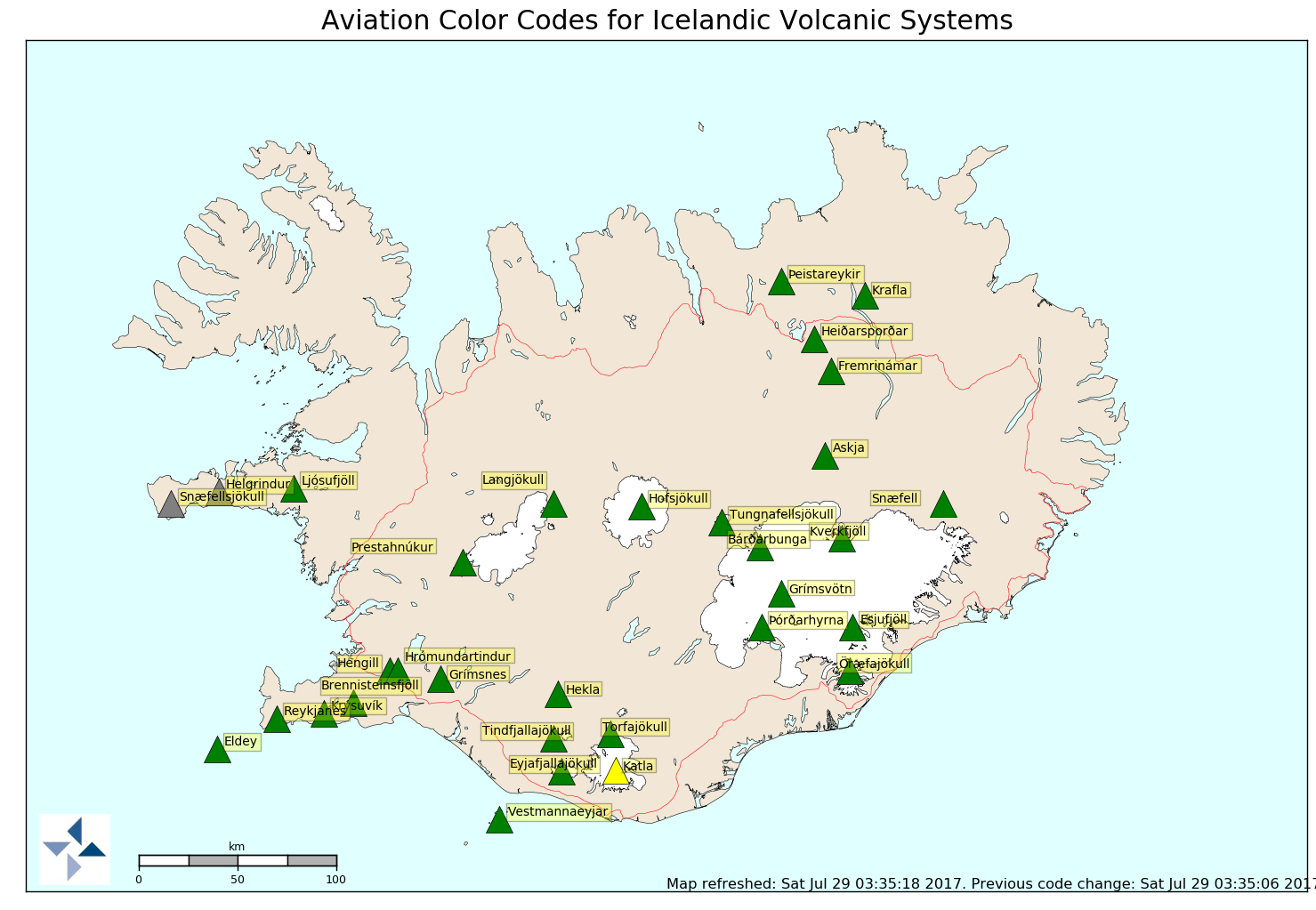 katla volcano alert level yellow, katla volcano alert level yellow map, The alert level of Katla volcano in Iceland has been risen to YELLOW after the largest quake in years has hit the volcano on July 26 2017