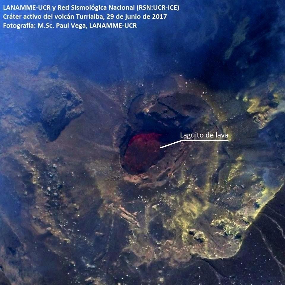 lava lake turrialba volcano, A rare lava lake has been discovered at Turrialba volcano
