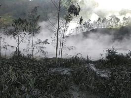 sileri eruption july 2017, sileri eruption july 2017 pictures, sileri eruption july 2017 video, sileri eruption july 2017 pictures and videos, TWO people have been killed after a search and rescue helicopter crashed after a volcano erupted injuring ten people at a tourist hotspot in Indonesia.
