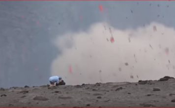volcano eruption vanuatu video, This incredible video shows a cameraman being nearly blown off the edge of erupting Mt Yasur volcano on Tanna Island, Vanuatu on July 16, 2017, Incredible footage has emerged of a cameraman being nearly blown off the edge of an exploding volcano.