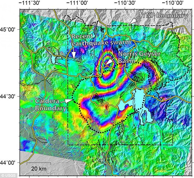 In the map above, a bulls-eye shaped section of uplift can be seen at the Norris Geyser Basin, where the ground has risen roughly 3 inches. And, an elliptical subsidence can be seen in the Yellowstone caldera, with the ground dropping about 1.2 inches +6 In the map above, a bulls-eye shaped section of uplift can be seen at the Norris Geyser Basin, where the ground has risen roughly 3 inches. And, an elliptical subsidence can be seen in the Yellowstone caldera, with the ground dropping about 1.2 inches