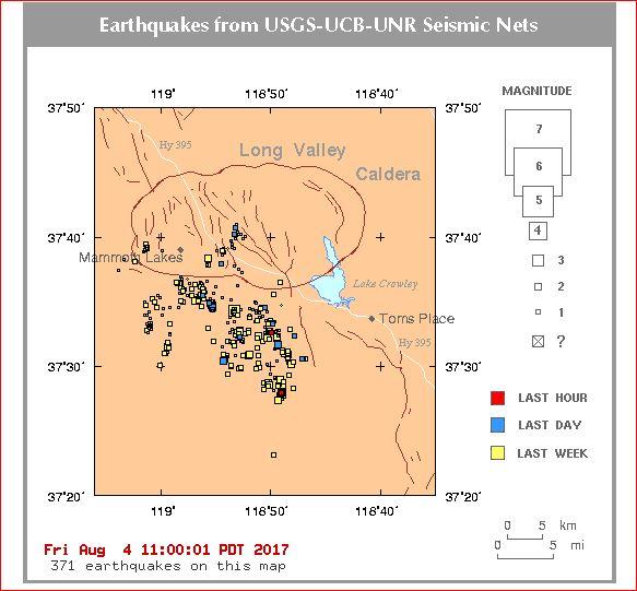 earthquake swarm long valle caldera, earthquake swarm long valle caldera august 2017, earthquake swarm long valle caldera august 2017map