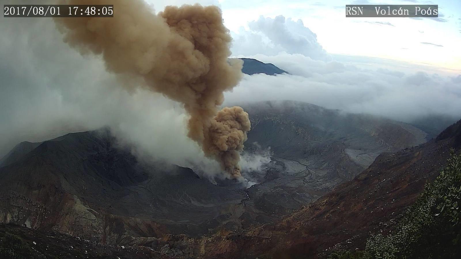 Poas volcano eruption on August 1 2017, Poas volcano eruption on August 1 2017 picture, Poas volcano eruption on August 1 2017 video