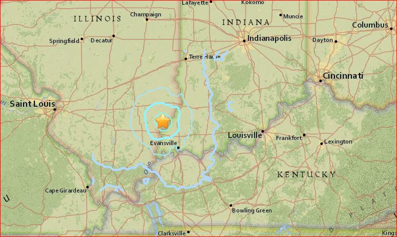 M3.8 earthquake rocks Illinois - Strongest quake in 6 years in map on