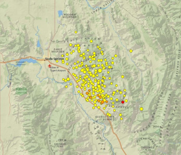 soda springs earthquake swarm, idaho earthquake swarm 2017, earthquake swarm idaho, earthquake swarm soda springs idaho