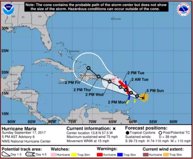 Hurricane Maria Hurricane Maria Map Path Of Hurricane Maria Potential Simultaneous Impact On