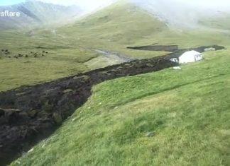 tibet melting permafrost video september 2017, melting permafrost flows like lava in Tibet video, tibet earthflow video, tibet melting permafrost video