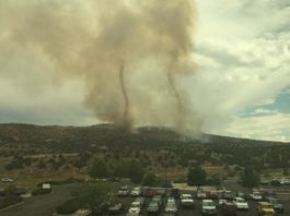 two smoke tornadoes nevada, two fire tornado elko fire nevada, smoke vortex elko usa, These two wildfire smoke tornadoes were captured by Kevin Dinwiddie on September 17th above Elko, Nevada, as the E fire continues burning., elko nevada fires, wildfire elko nevada september 2017